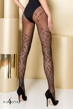 Collants TI105 - Gold Collection : Collants fantaisie en lycra 20 deniers sans démarcation, décorés de motifs baroques.
