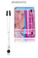 Pince Clitoris Purple beaded : Pince intime pour le Clitoris, ajustable et no-piercing, orné d'un pendentif de perles pourpres.