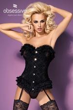 baletti : Superbe corset réglables en tissu élastique et dentelle au motif fleuri signé Obsessive Lingerie.