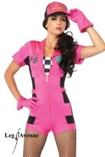 Costume rallye Pit Crew : Fin de série : uniquement disponible en XS. Costume Pit Crew : combishort zippé, top bandeau à damier, gants, casquette.