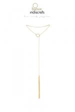 Collier métallique doré avec franges : Un collier en métal avec un mini fouet à son extrémité, pour un look sexy et branché, mais aussi pour enflammer vos jeux érotiques.