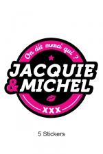 Pack 5 stickers J&M n°2 : Pack de 5 Stickers noirs Jacquie & Michel  (dimensions 8.1 x 7 cm) à coller où vous voulez.