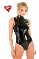 Body Sleeveless vinyle : Jouez du fouet dans ce body sexy sans manches en magnifique vinyle noir.