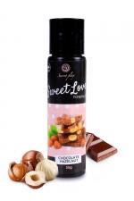 Lubrifiant comestible chocolat-noisette - 60ml : Lubrifiant 100% comestible de la série Sweet Love, au parfum chocolat-noisette signé de la marque Espagnole Secret Play.