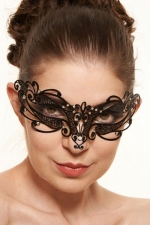Masque vénitien Feel 4 : Ce masque vénitien en métal noir décoré de strass pose un bandeau mystérieux sur votre regard.