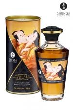 Huile chauffante - Baisers au caramel : Huile aphrodisiaque comestible et chauffante, saveur Baisers au caramel, activée par la chaleur de la peau ou les baisers, by Shunga.