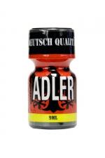 Poppers Adler 9 ml : Flacon de 9 ml de Poppers Adler, arôme liquide érotique à base de Nitrite de Penthyl (le plus fort).