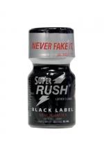 Poppers Super Rush Black Label 9 ml : Arôme liquide aphrodisiaque (flacon de 10 ml)à base de Nitrite de Penthyl (le plus fort), pour aromatiser votre pièce.