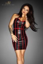 Robe Taboo - Noire : Robe en wetlook mat, avec une fermeture lacée style corset sur toute la hauteur de la fente arrière.