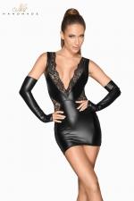 Mini robe wetlook et dentelle F212 : Robe courte en wetlook mat pleine de sensualité avec ses empiècements de fine dentelle transparente.