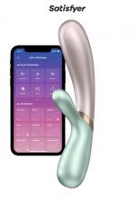 Rabbit chauffant Hot Lover menthe beige - Satisfyer : Faites monter la température avec ce Rabbit de dernière génération chauffant, rechargeable, connecté, étanche et ergonomique !