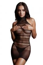 Mini robe résille col dentelle - Le Désir : Mini robe dos nu en résille sexy à rayures géométriques et col haut en dentelle. Inspirons Le Désir.